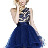 Sherri Hill 21219 Floral & Tulle Cocktail Dress
