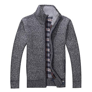 Winter Men's Turtleneck Sweatercoat Knitted zipper Sweaters Casual wool liner Cardigan Coat outerwear basic jackets grey
