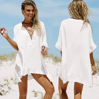 Bikini Cover Up Sun Protection Clothing Holiday Beach Dress