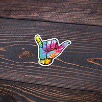 "Hang Loose Tie Dye - Pack Of 3 - 4"" Wide - Personalized Sticker - Die Cut"
