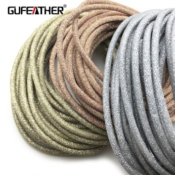 GUFEATHER 3MM Leather/jewelry accessories/accessories parts/jewelry findings/diy accessories/hand made/leather cord/ 500CM/bag