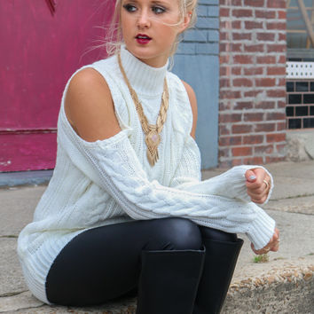 Moonlit Charm Ivory Cold Shoulder Cable Knit Turtleneck Sweater