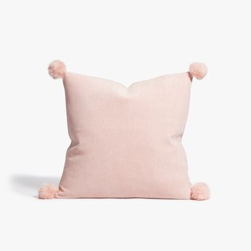 Blush Corduroy Pom Pom Throw Pillow