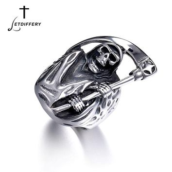 Letdiffery Punk Rock Skull Finger Ring Stainless Steel Gothic Hell Death Sickle Signet Ring For Men Gift