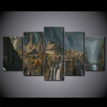5Pcs/Set Home Decor interior Wall Art Painting Split Canvas Print Lord of the rings Poster  Canvas Painting Art  Landscape Paint