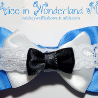 Mini Alice in Wonderland Hair Bow by MickeyWaffles on Etsy