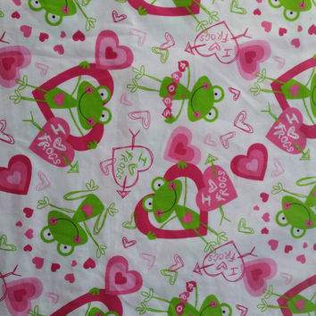 Quilters fabric with frogs hearts sewers sewing project quilting  material for sewing BTY 1 yard