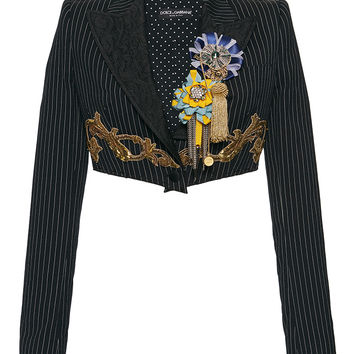 Pinstripe Embroidered Cropped Jacket | Moda Operandi