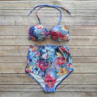 Twist Bandeau Bikini - Vintage Style High Waisted Pin-up Swimwear - Amazing Water Colour Floral Print - Unique & So Cute!