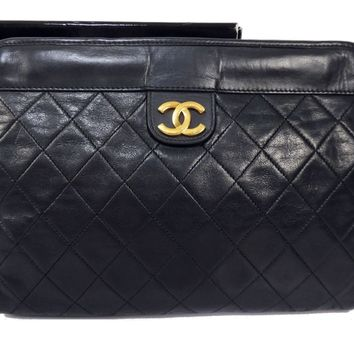 100% Auth CHANEL Lamb Leather Clutch Bag Pouch Matelasse Coco Black Q963
