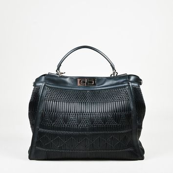 "Fendi Spring 2016 Runway Black Textured Leather ""Large Peekaboo"" Satchel Bag"