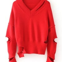 Red V-neck Cut Out Detail Long Sleeve Knit Sweater