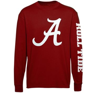Mens Alabama Crimson Tide Crimson Mascot Pride Long Sleeve T-Shirt