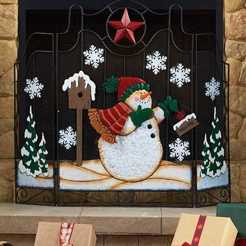 Snowman Metal Fireplace Screen Freestanding Holiday Christmas Winter Hearth