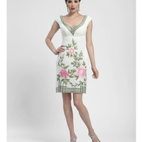 Sue Wong Summer 2014 - Ivory & Floral Cap Sleeve Dress