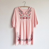 70s style embroidered dress - pink