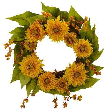 Artificial Fall Wreath -22 Inch Golden Sunflower Autumn Wreath