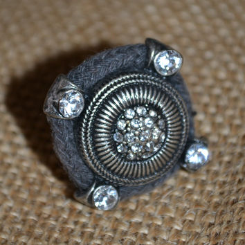 Zenzii Grey Rope Ring w/Diamonds