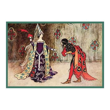 Japanese Maiden with a Flute by Warwick Goble Counted Cross Stitch Chart