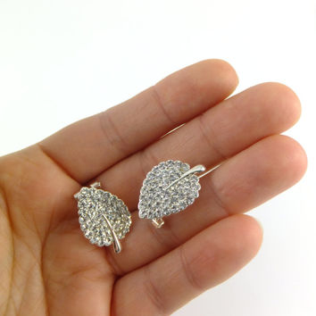 Leaf Rhinestone Earrings, Drop Earring, Imitation Silver Tone, Ecochic, Dangling Earrings, Bridal Wedding, Rhinestone Earring