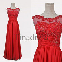 Custom Red Beaded Long Prom Dresses Fashion Evening Dresses Bridesmaid Dresses 2014 Formal Party Dress Formal Evening Gowns