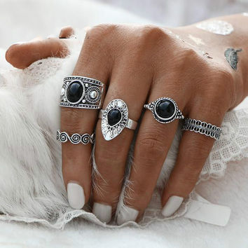 2017 NEW Turkish Vintage Ring Sets 5 PCS Antique Alloy Nature Blue Stone Midi finger Rings for Women Steampunk Anillos Dropship JM0510
