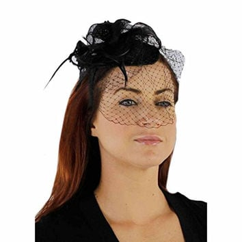Charisma Sinamay Fascinator Cocktail Hat with Netting, Black