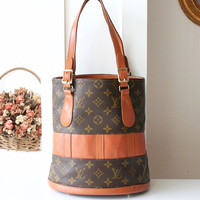 Louis Vuitton handbag monogram Vintage USA Rare Bucket Tote Authentic Bag