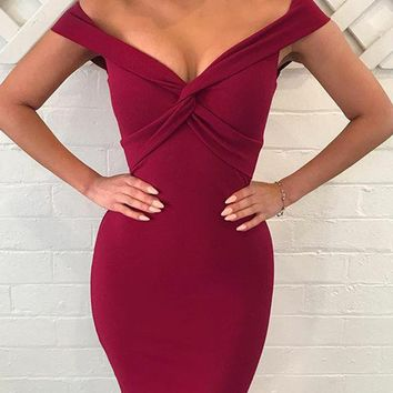 Red Plunge Knot Front Bodycon Dress