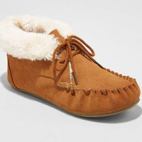 Women's Corene Shearling Suede Tie Front Moccasin Slippers - Mossimo Supply Co. Chestnut 10, Brown