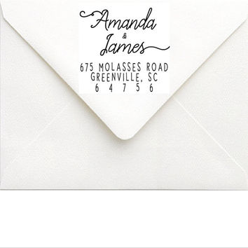 Return Address Stamp - Personalized Couple Address Stamp - Handwriting Wedding Address Stamp - Wedding Invitation Rubber Address Stamp