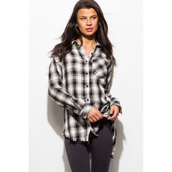 Plaid Black Flannel Long Sleeve Tunic Top