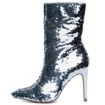 "Silver Sequin Pointy Toe Ankle Boot Full Side Zipper 4"" High Heels"