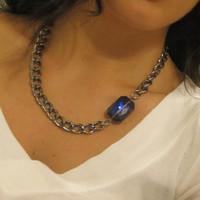 Thick Chunky and Heavy Weight Antiqued Gunmetal Chain Necklace with Large blue purple Crystal / statement, layering, choker, cuff jewelry