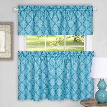 Ben&Jonah Collection Colby Window Curtain Tier Pair and Valance Set - 58x24 - Turquoise