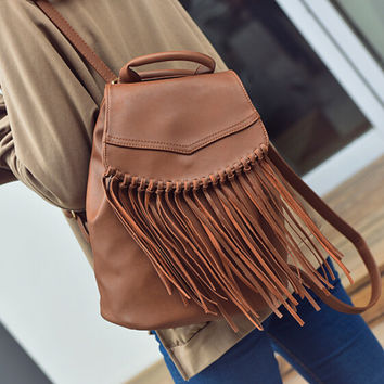 Vintage Style Tassel Backpack Bag for Women Gift