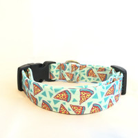 Pizza Dog Collar, Blue Collar,  Adjustable Nylon Collar, Girl or Boy,  XS-L