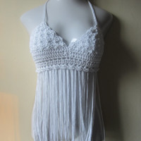 Crochet FESTIVAL FRINGE TOP, Elongated Fringe Top, Music festival clothing, gypsy top,  Bohemian top, Summer top, Cotton