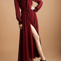 Wine Red Bow Tie Neck Side Slit Chiffon Dress
