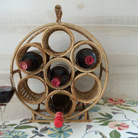 Round Bamboo Wine Rack, Wicker Wine Rack, Counter Top Wine Rack