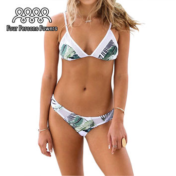 Cupshe Hot Women's Fresh Leaves Printing Cross Padding Bikini Set Sexy Hollow Out HD19 MP