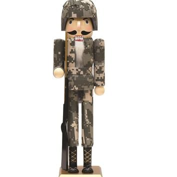 """15"""" Army Soldier in Fatigues Decorative Wooden Christmas Nutcracker"""