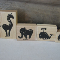 Stampin Up Animal Stories Set of 4 Rubber Stamps Stampin Up Rubber Stamps Elephant Whale Giraffe Owl