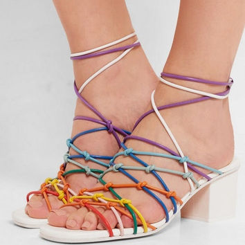 Newest 2017 Summer Mixed Color Cross-Tied Lace Up Peep Toe Sandals Women Hollow Out Ankle Strap Mid Square Heel Casual Pumps
