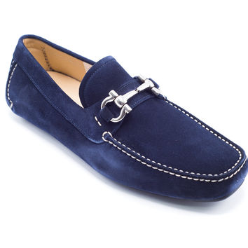 Salvatore Ferragamo Men's Navy Parigi Suede Loafers