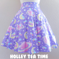 ☆ Saturn's Wish A-Line Skirt Purple ☆ MADE TO ORDER ☆Decora kei ☆ Fairy kei ☆ sold by Holley Tea Time