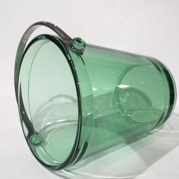 Green Depression Glass Ice Bucket, Vintage Glass Ice Bucket | Bar Cart | Barware