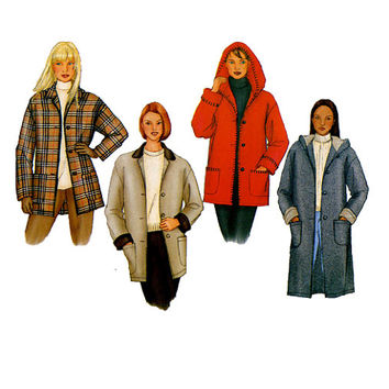 HOODIE JACKET PATTERN Coat with Hood Outdoor Fleece Wool Jacket Patterns Butterick 6835 Size 8 10 12 UNCuT 2000s Womens Sewing Patterns