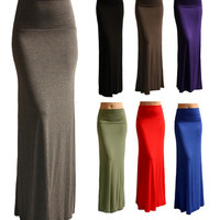 SOLID MAXI SKIRT Long Full Length High waist Fold over S M L XL CLEARANCE