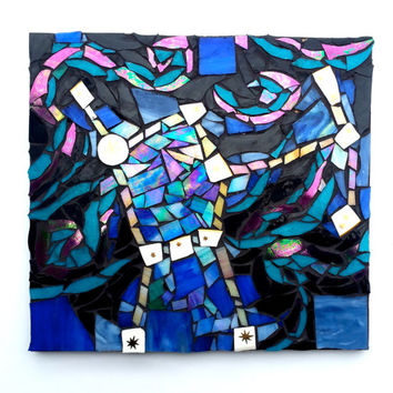 Orion Constellation Sci Fi Stained Glass Mosaic Artwork. Mixed Media Star and Galaxy Wall Art. Startgazing and Astronomy Home Decor.